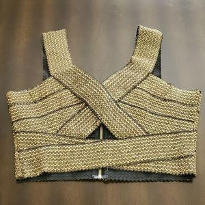 Charlotte Russe Gold Metallic Stretch Bustier - L
